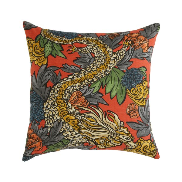 Ming Dragon Persimmon Pillow by Mozaic Company