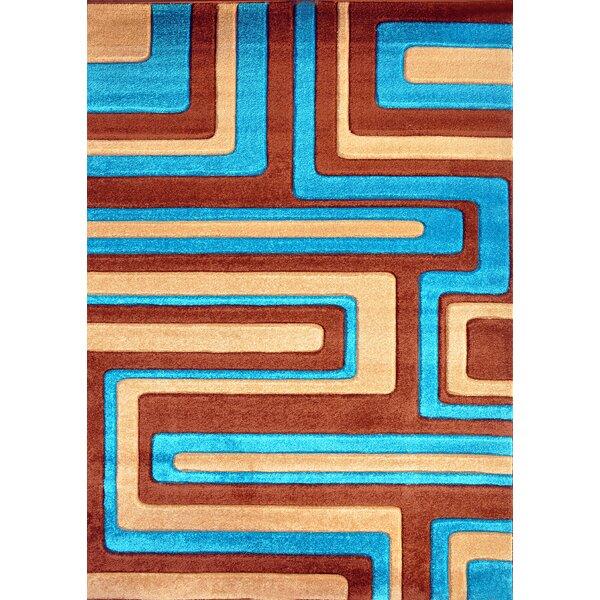Melfa Contemporary  Abstract Brown/Blue Area Rug by Orren Ellis