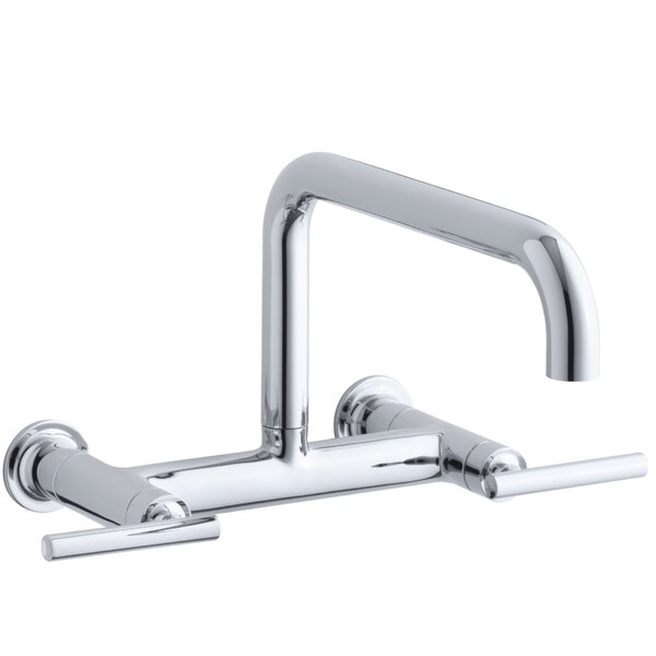 Purist Two-Hole Wall-Mount Bridge Kitchen Sink Faucet with 13-7/8 Spout by Kohler