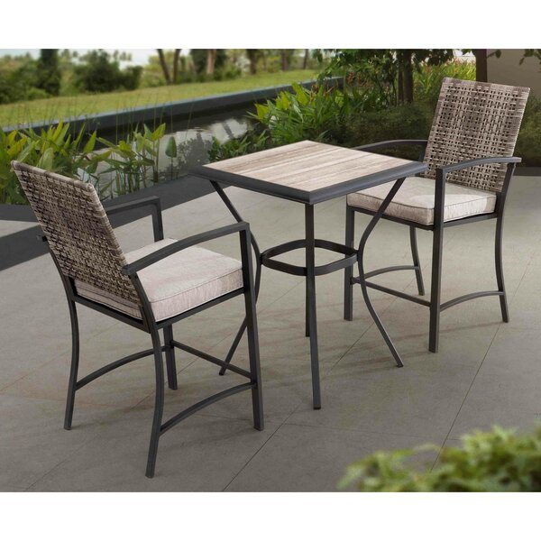 Krull Wicker 3 Piece Bar Height Dining Set with Cushions by Latitude Run
