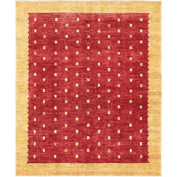 One-of-a-Kind Rejali Hand-Woven Wool Red/Gold Area Rug by Red Barrel Studio