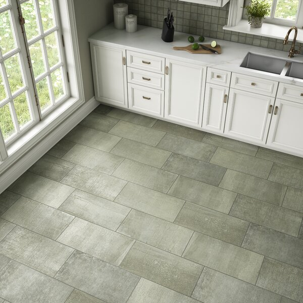 La Vie Boheme 12 x 24 Porcelain Field Tile in Emerald by PIXL