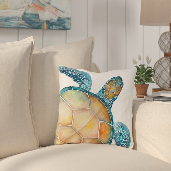 Citium Sea Turtle Outdoor Throw Pillow by Highland Dunes