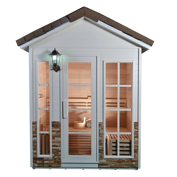 Canadian Cedar Wood 4 Person Steam Sauna by ALEKO