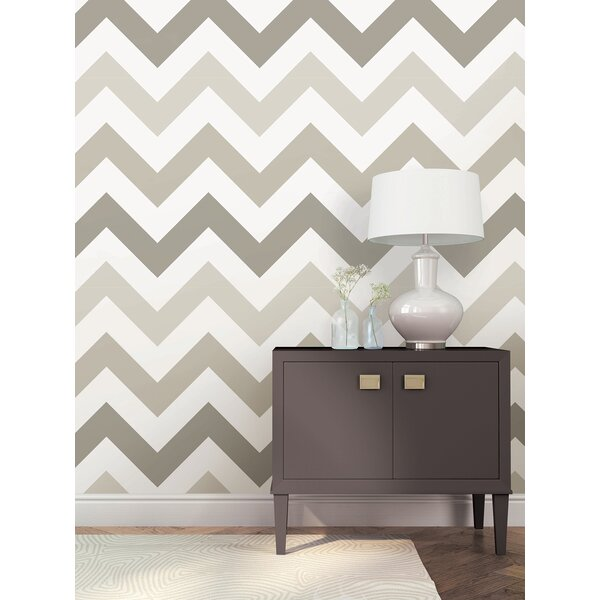 Taupe Zig Zag Wallpaper Roll by WallPops!