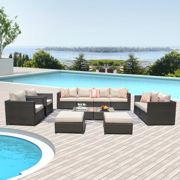 Cassville Big Size 12-Piece Rattan Sectional Seating Group with Cushions by Highland Dunes