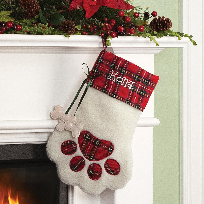 Dog Bone Christmas Stocking.Plaid Dog Bone Personalized Paw Stocking