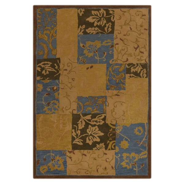Aarav Hand-Tufted Wool Orange/Brown/Blue Area Rug by Fleur De Lis Living