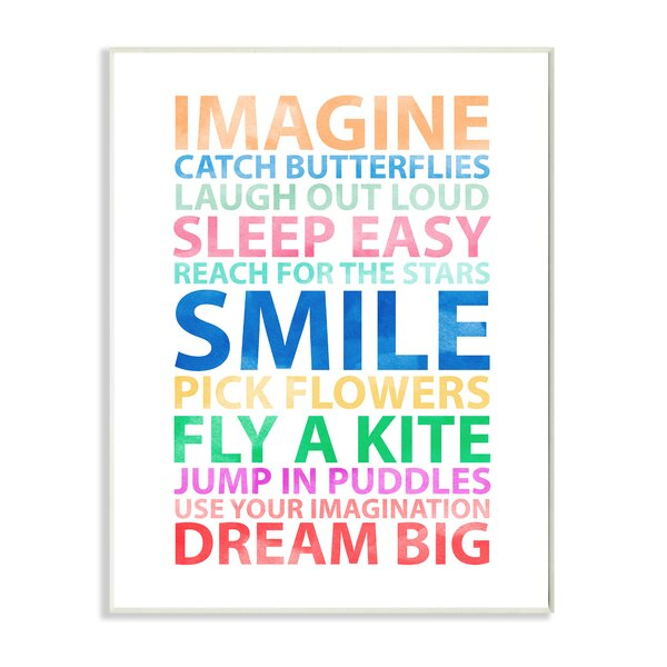 Kleckner Imagine, Smile, Dream Big Wall Plaque by Zoomie Kids