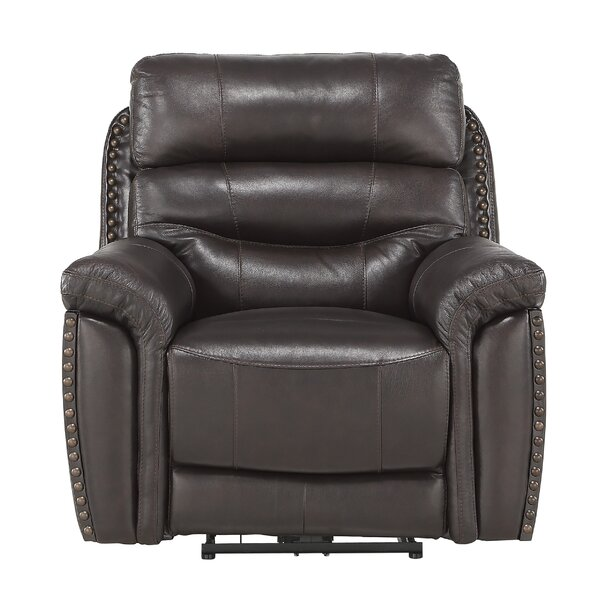 Robillard Leather Power Recliner By Winston Porter