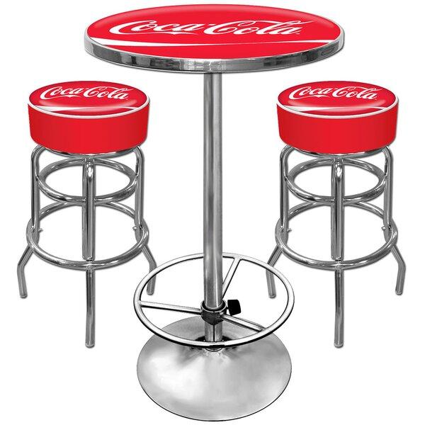 Coca Cola Ultimate Gameroom 3 Piece Bar Stool Table Set by Trademark Global