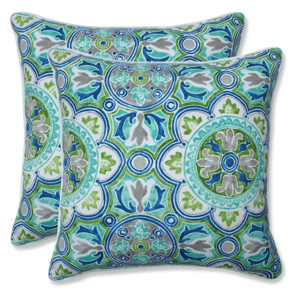 Creswell Tile Pool Indoor/Outdoor Throw Pillow (Set of 2)
