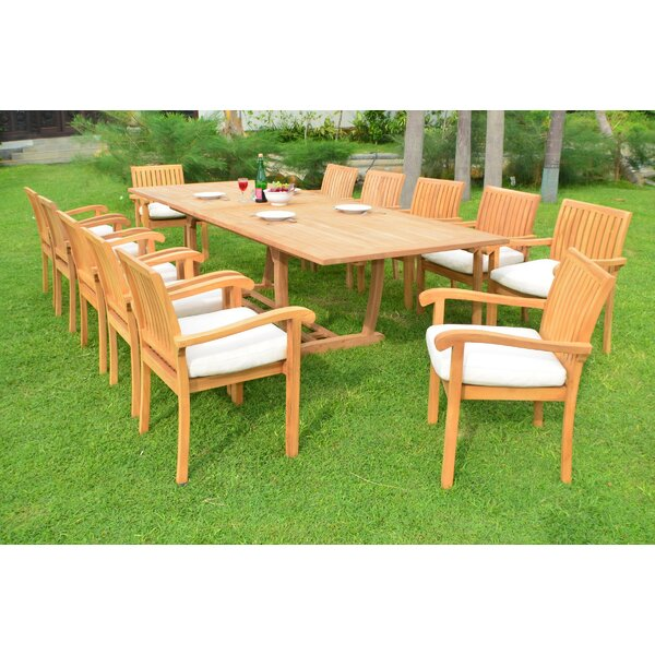 Moultrie Luxurious 13 Piece Teak Dining Set by Rosecliff Heights