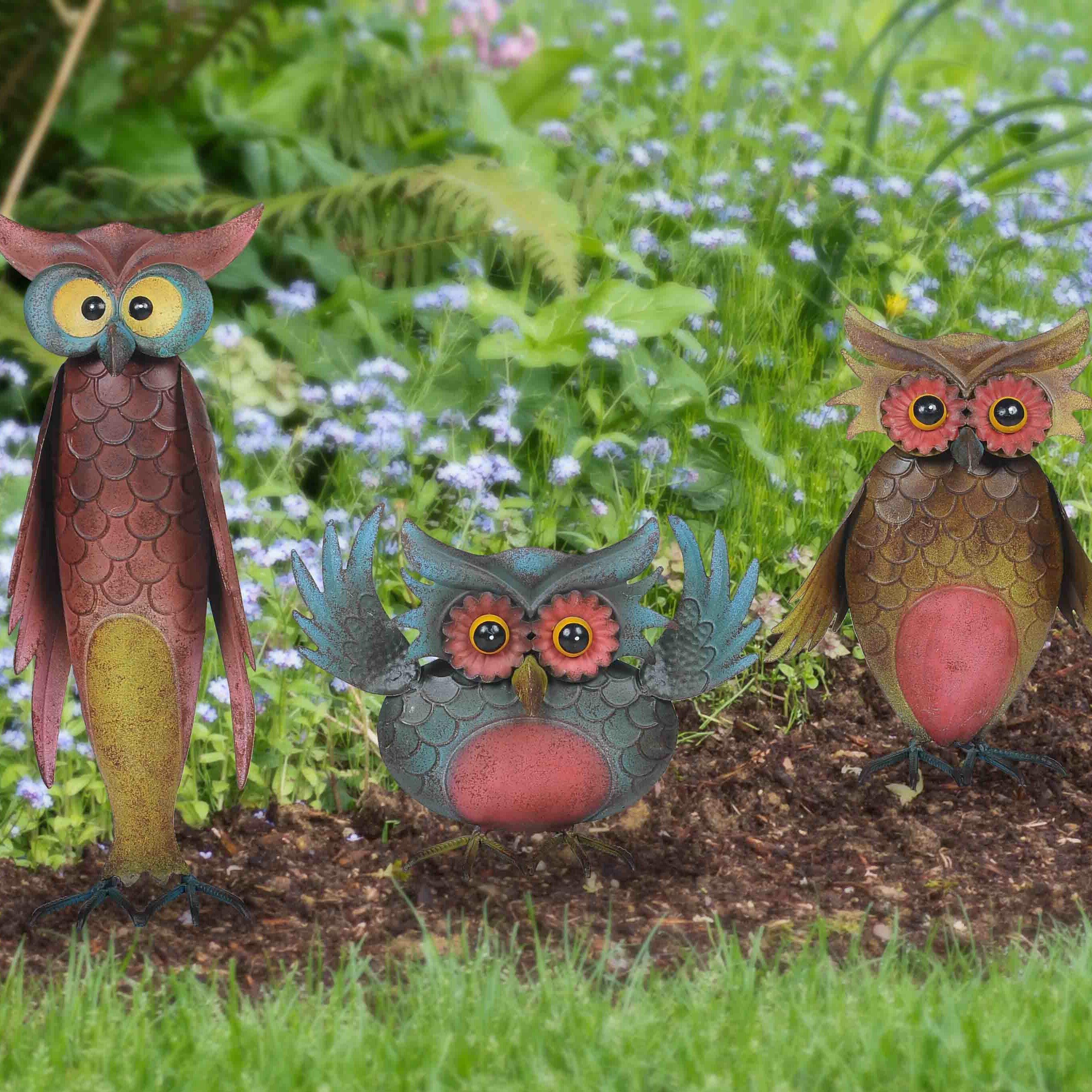 Sunjoy Whimsical 3 Piece Owl Garden Statue Set Reviews Wayfair