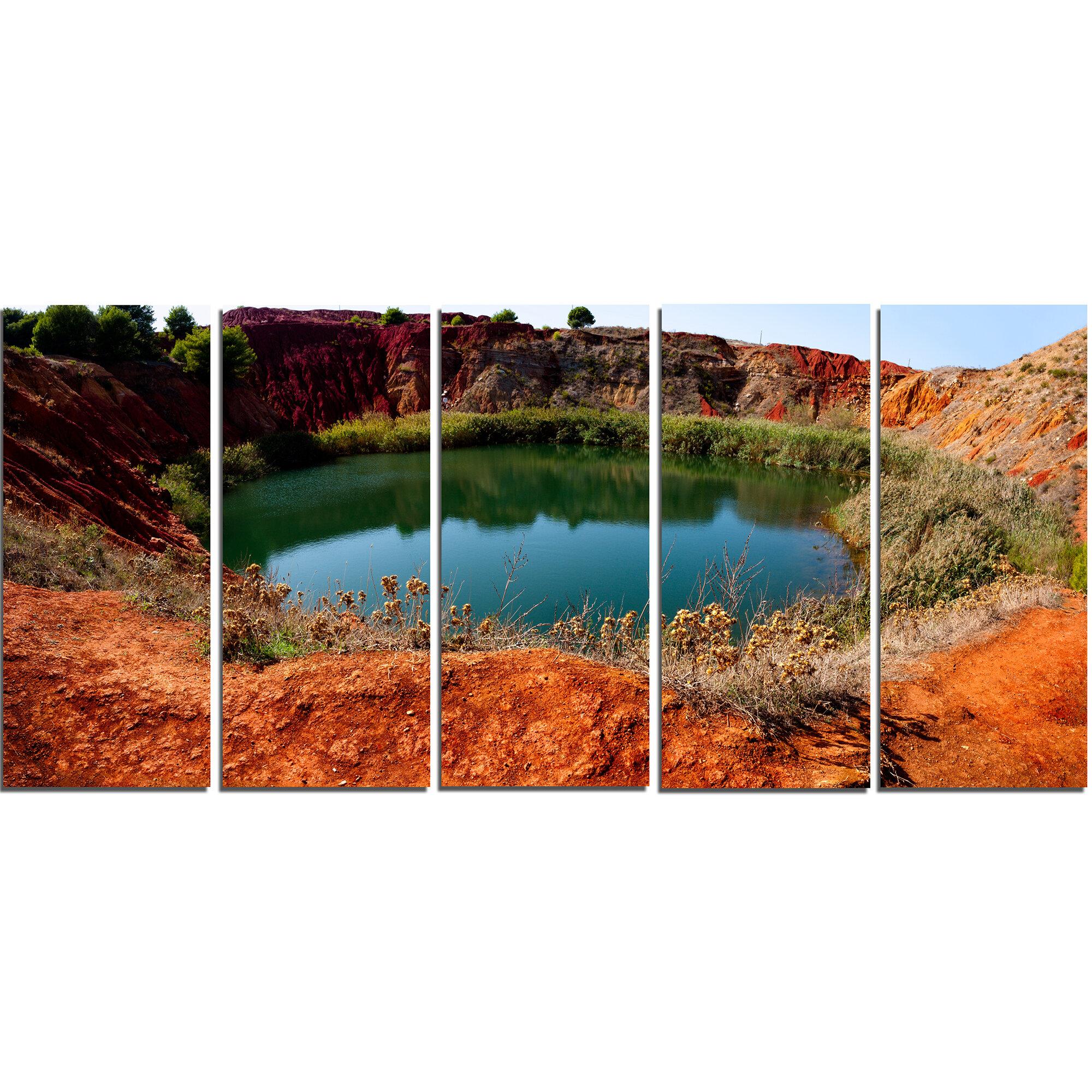 Designart Bauxite Mine With Lake 5 Piece Wall Art On Wrapped Canvas Set Wayfair