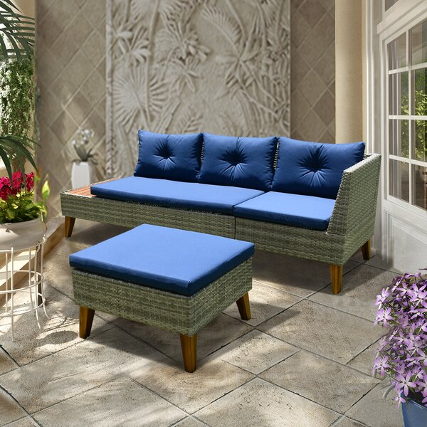 McCoy Patio 3 Piece Sectional Seating Group with Cushions by Foundstone