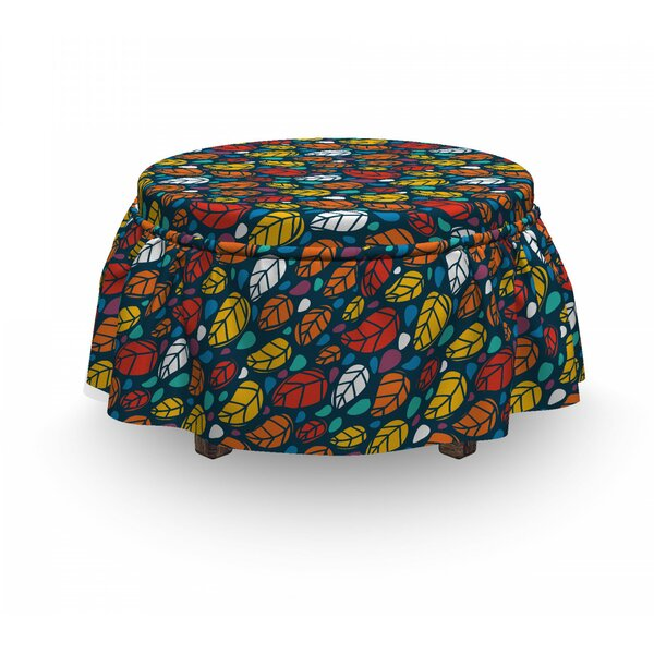 Doodle Leaves Nature Ottoman Slipcover (Set Of 2) By East Urban Home