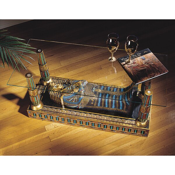 Egyptian Luxor Sculptural Glass-Topped Coffee Table by Design Toscano