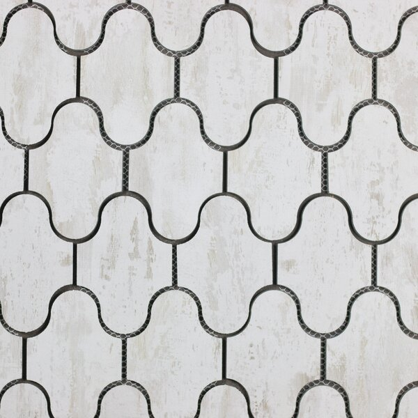 Nature Swag 3.5 x 5.13 Glass Subway Tile in White/Tan by Abolos