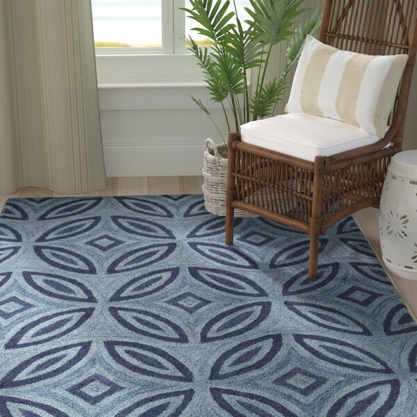 Quinn Geometric Hand-Tufted Teal Area Rug by Longshore Tides