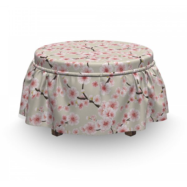 Asian Flowering Blooms 2 Piece Box Cushion Ottoman Slipcover Set By East Urban Home