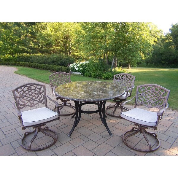 Stone Art Swivel 5 Piece Dining Set with Cushions by Oakland Living