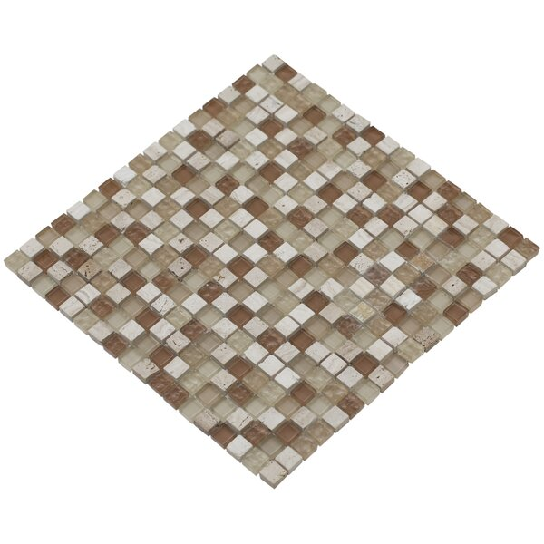 Mesh Pess 12 x 12 Glass/Stone Mosaic Tile in Beige/Brown by Mirrella