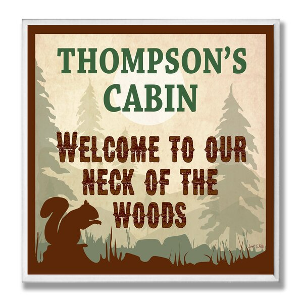 Cabin Welcome to our Neck of the Woods by Janet White Framed Graphic Art Print by Stupell Industries