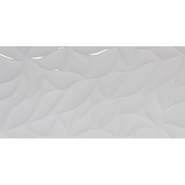Jazz Bloom 12 x 24 Ceramic Field Tile in White by Emser Tile