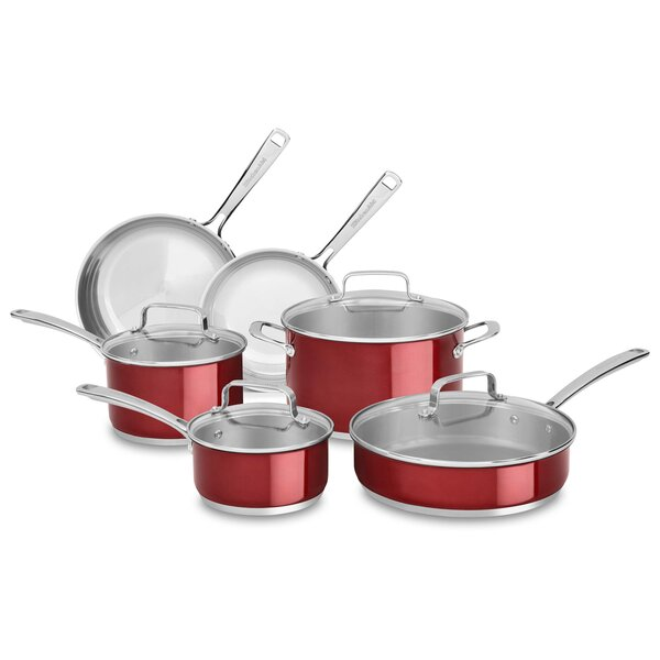 10 Piece Stainless Steel Cookware Set by KitchenAid