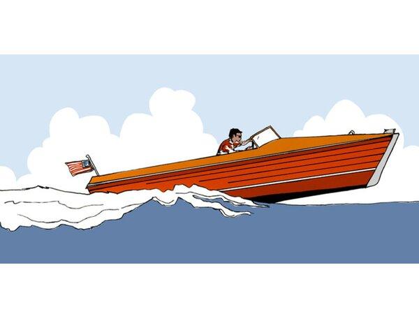 Speed Boat Canvas Art by Oopsy Daisy