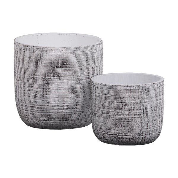 Cement Round 2 Piece Pot Planter Set by Urban Trends