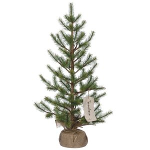 2.4' Green Pine Artificial Christmas Tree with Burlap Base Stand