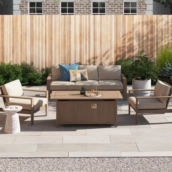 Daly 4 Piece Sofa Seating Group with Cushions by Foundstone