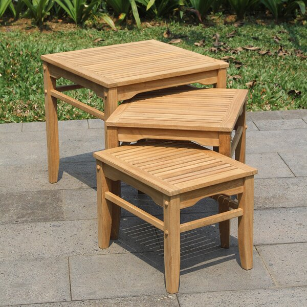 Watt Teak Side Table (Set of 3) by Bay Isle Home
