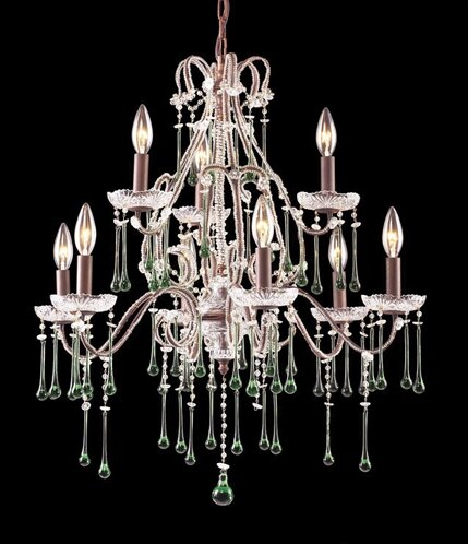 Opulence 9-Light Candle Style Tiered Chandelier With Crystal Accents By Elk Lighting