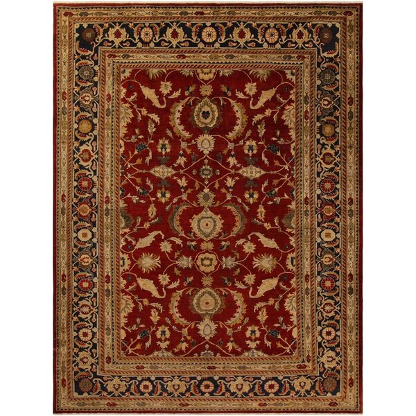 Xenos Oriental Hand-Knotted Wool Red/Blue Area Rug by Astoria Grand