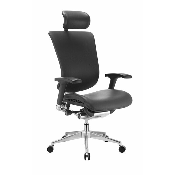 Ergonomic Genuine Leather Executive Chair With Headrest by Symple Stuff