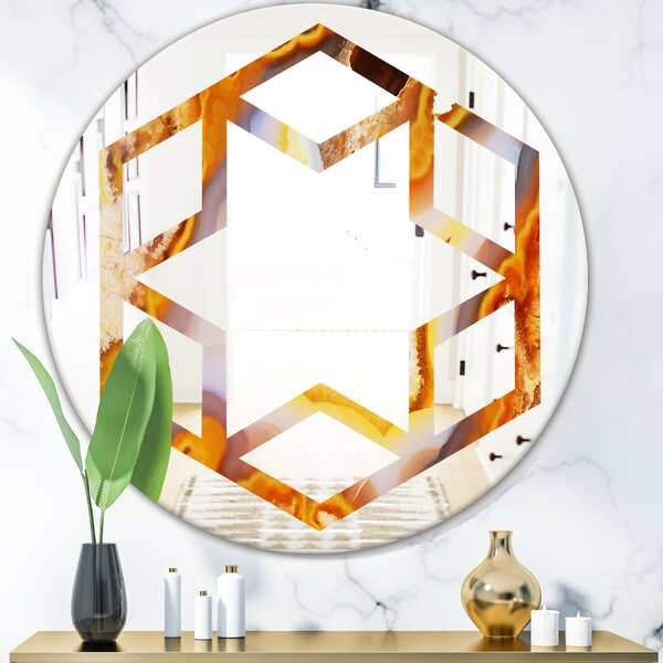 Hexagon Star Fire with Crystals Eclectic Frameless Wall Mirror