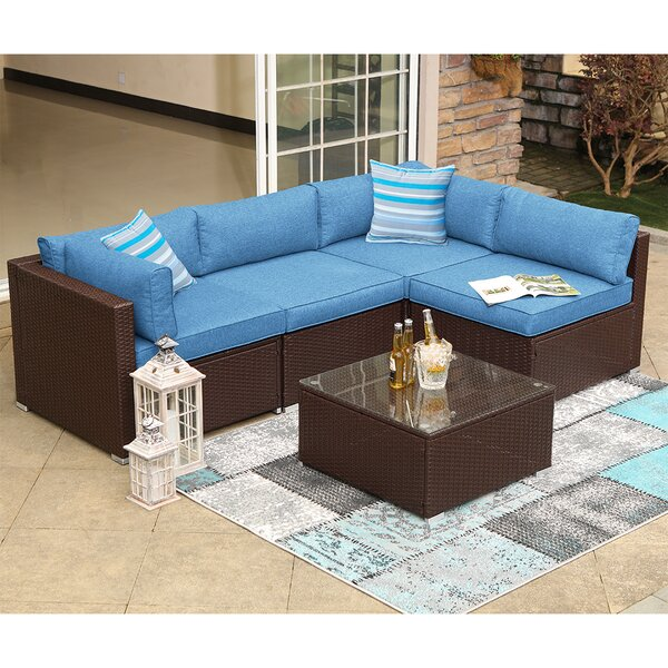 Maeve 5 Piece Rattan Sectional Seating Group with Cushions by Bayou Breeze
