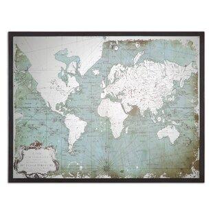 Framed world map wayfair mirrored world map framed graphic art print gumiabroncs Choice Image