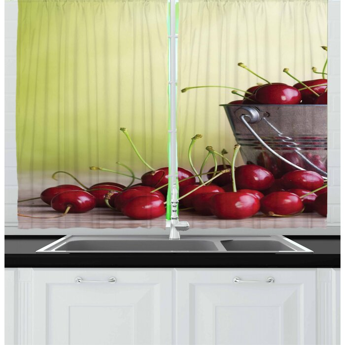 2 Piece Country Bucket with Full of Ripe Natural Tasty Cherries on Green Ombre Fruit Bowl Picture Kitchen Curtain Set