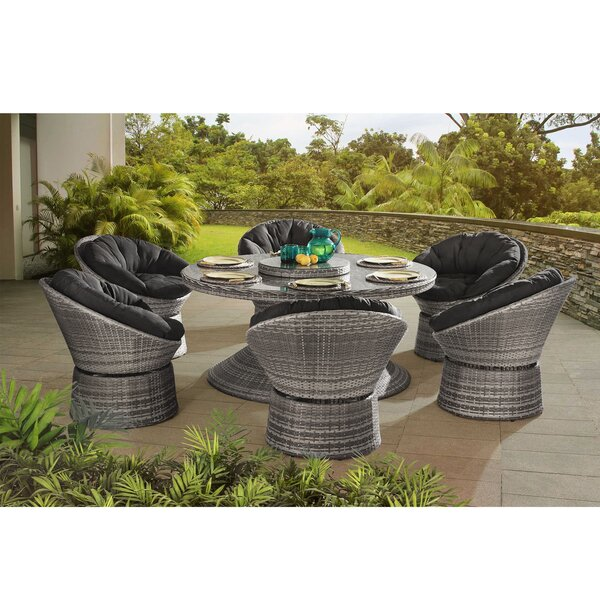 Carsten 7 Piece Dining Set with Cushions by Bay Isle Home