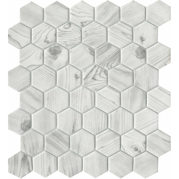 Echo Hex 2 x 2 Glass Mosaic Tile in White by Emser Tile