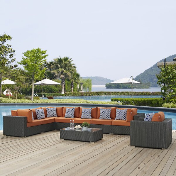 Tripp 7 Piece Sunbrella Sectional Sofa with Cushions Brayden Studio BRSU4089