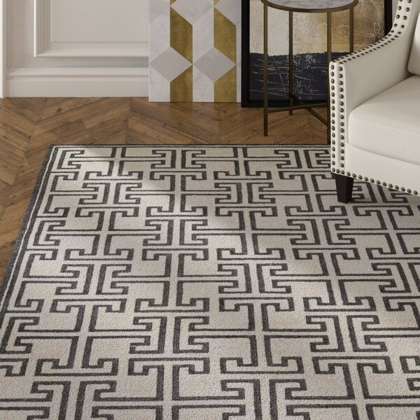 Bridlington Hand-Crafted Off White/Smoke Area Rug by Mercer41