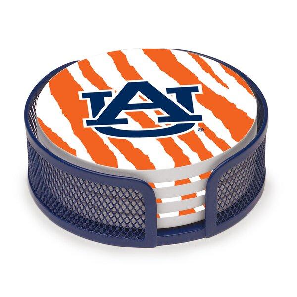 5 Piece Auburn University Stripes Collegiate Coaster Gift Set by Thirstystone