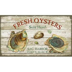 'Fresh Oysters' by Suzanne Nicholl Graphic Art Print on Wood by Red Horse Arts