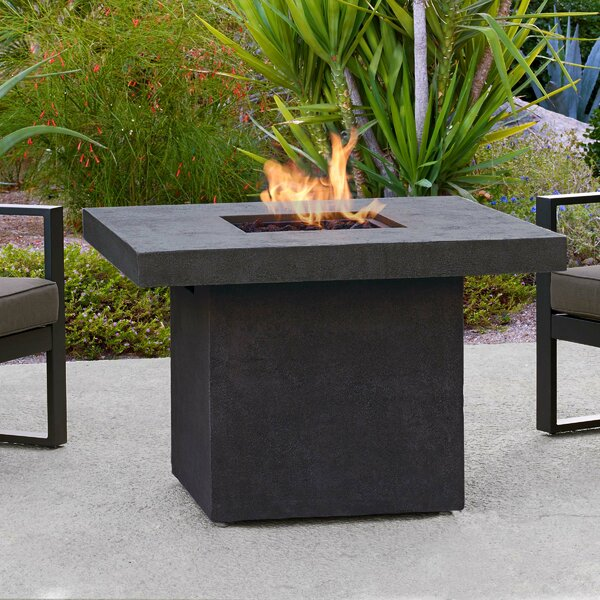 Ventura Square Concrete Propane/Natural Gas Fire Pit Table by Real Flame