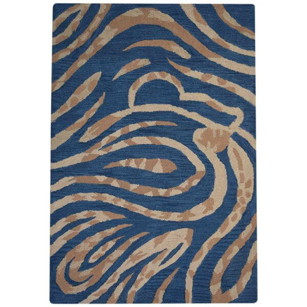 Creager Hand-Tufted Wool Blue/Beige Area Rug by Mercer41